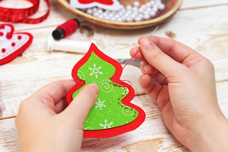 Christmas crafts. Christmas tree. Christmas crafts. Decorations royalty free stock photography