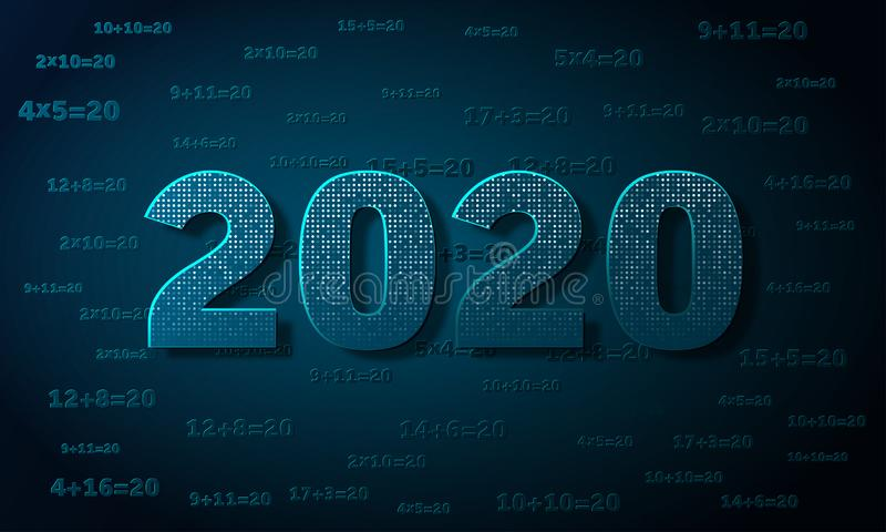 Christmas creative background 2020 with numbers. vector illustration