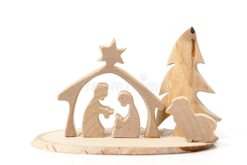 Christmas crib. Cut out from plywood over white background stock photography