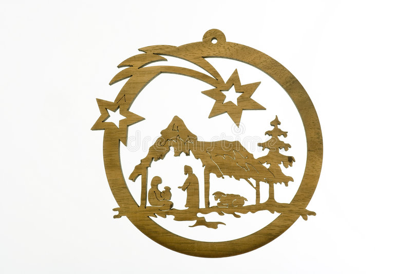 Christmas crib. Cut out from plywood over white background stock photos