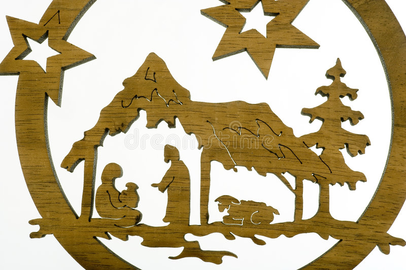Christmas crib. Cut out from plywood over white background royalty free stock photos