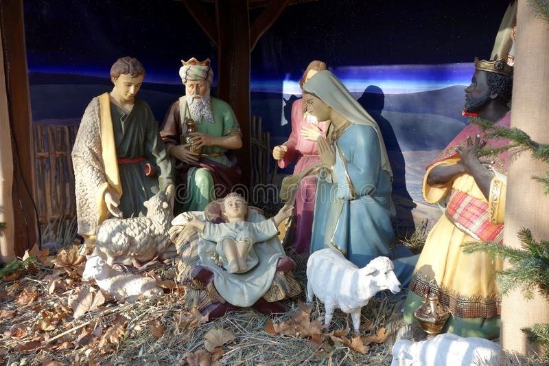 Christmas crib in a church in Vienna.  royalty free stock photo