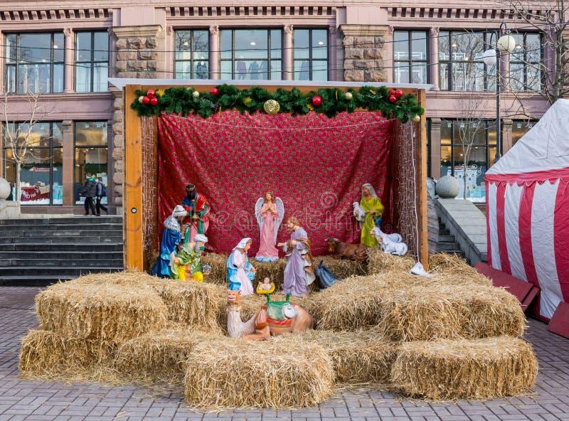 Christmas Crib Figures. Small Jesus and Maria stock photos