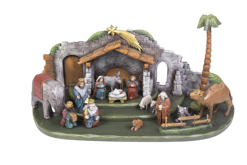 Christmas crib. Wooden christmas crib isolated on a white background royalty free stock image