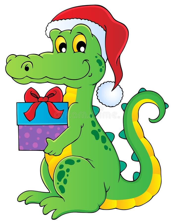 Christmas crocodile theme image 1 stock images