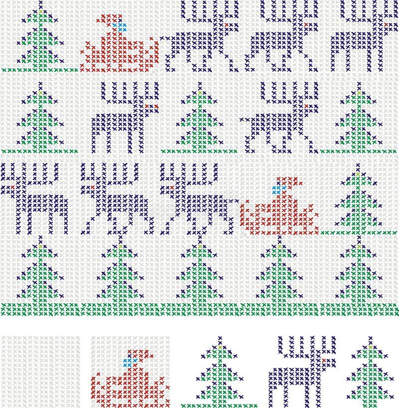 Christmas cross stitch stock illustration