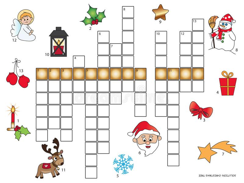 Christmas crossword for children stock images