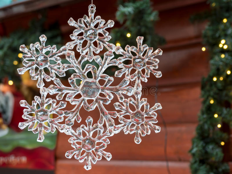 Christmas crystal snowflake: xmas market decoration stock photos