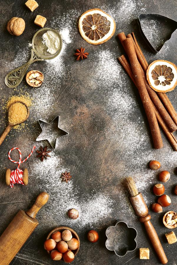 Christmas culinary background. Top view with copy space. stock image