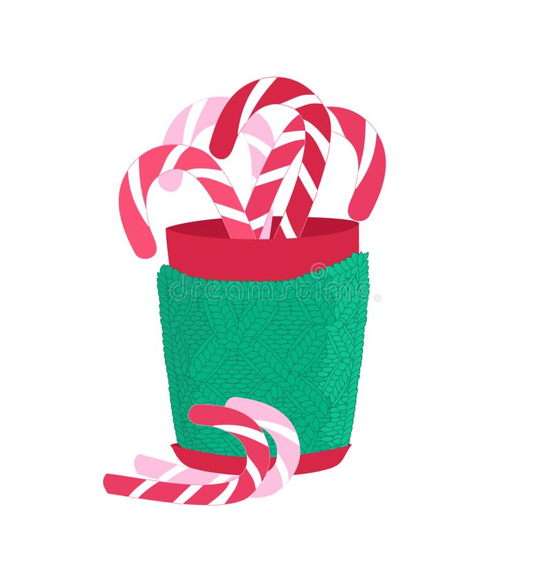 Christmas cup in a knitted case filled with caramel canes. Vector illustration on white background royalty free illustration