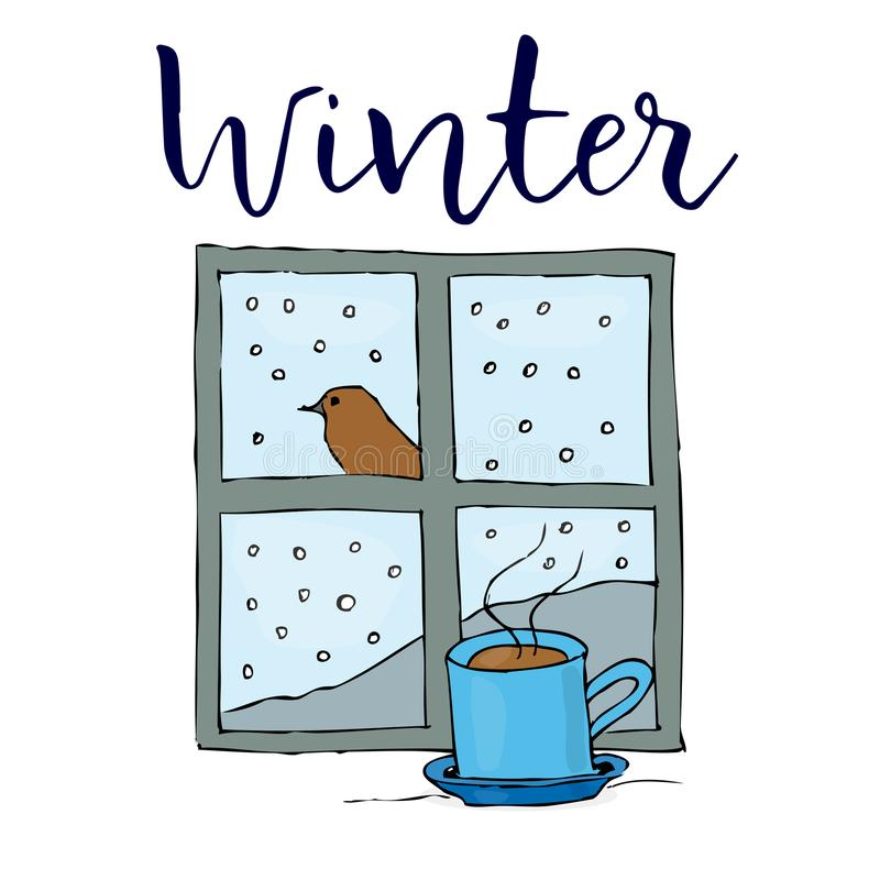 Christmas cup near the window with bird behind the window and snow outside. Greeting card. Colored illustration on white background stock illustration