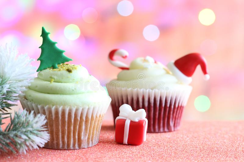 Christmas cupcake abstract ornament baking concept on defocused colorful background. Still life royalty free stock photos