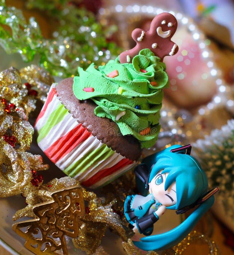 Christmas cupcake character cartoon hatsune miku anime royalty free stock image
