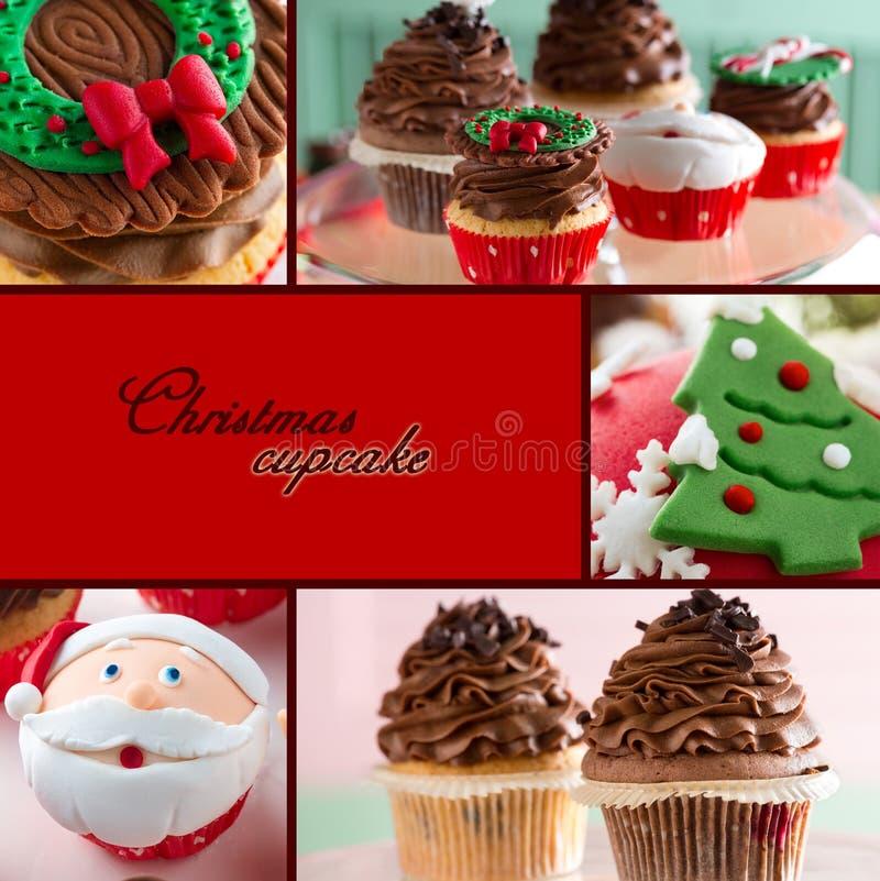 Christmas cupcake. Collage of Christmas cupcake, sweet food stock images