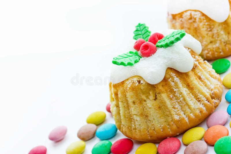 Christmas cupcake isolated on white background royalty free stock images