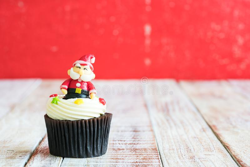 Christmas of cupcake on the wooden. Christmas of cupcake on the old wooden royalty free stock photography