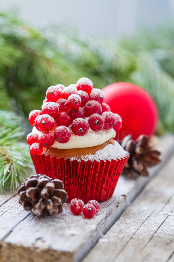 Christmas cupcake. With red berries, rustic wood background royalty free stock photo