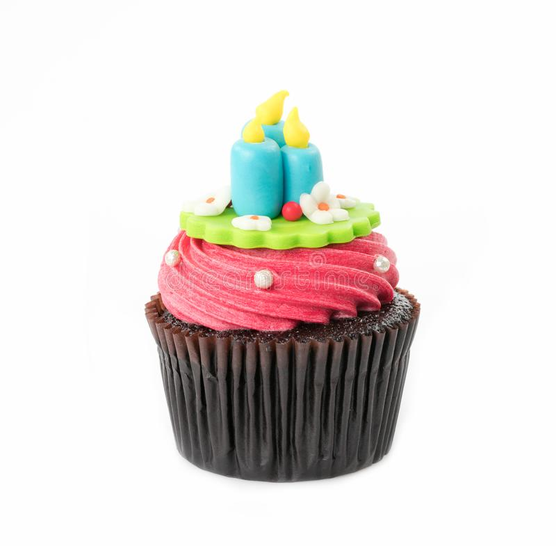 Christmas of cupcake on the white royalty free stock photo