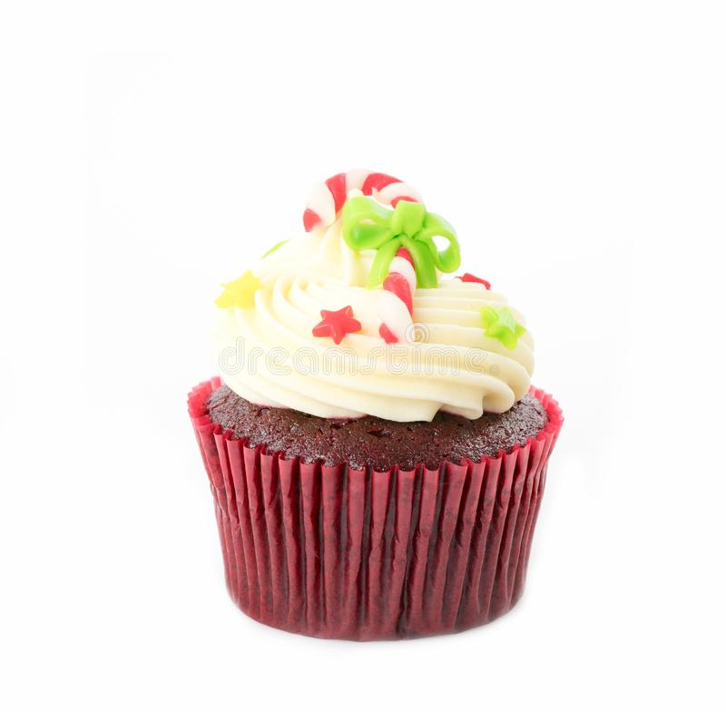 Christmas of cupcake on the white royalty free stock images