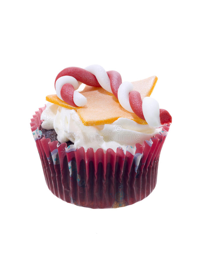 Christmas cupcake. On white background stock photo