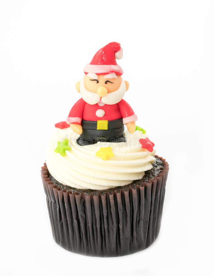 Christmas cupcake on the white. Background royalty free stock photos