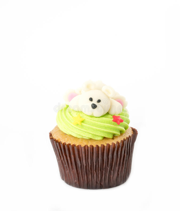 Christmas of cupcake on the white. Background royalty free stock photos