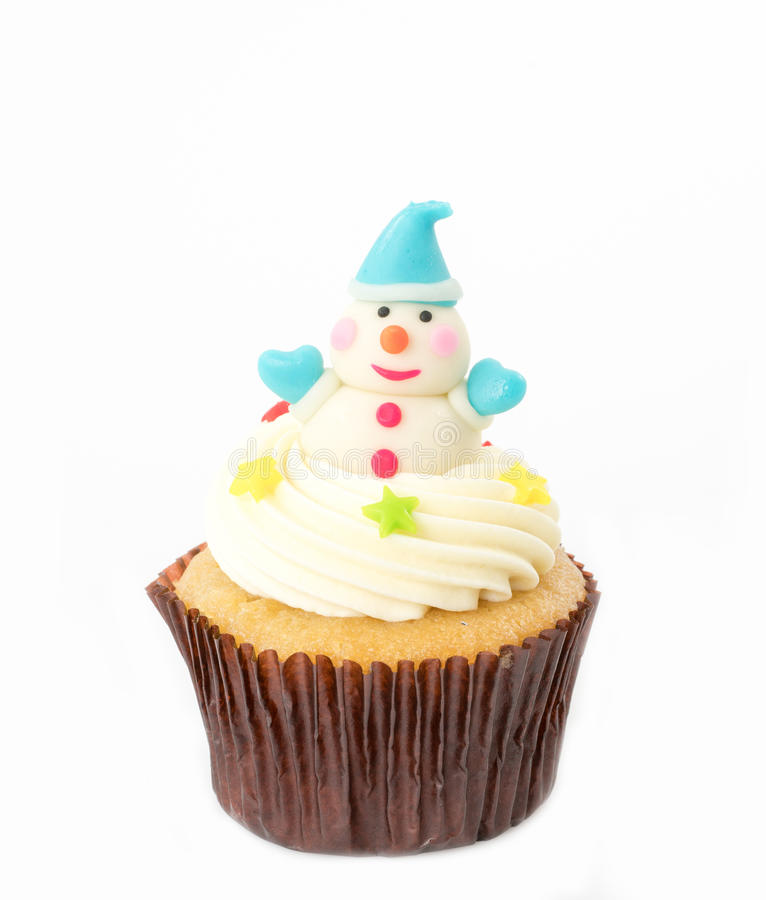 Christmas cupcake on the white. Background royalty free stock photography