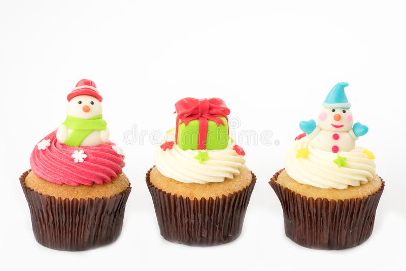 Christmas of cupcake on the white stock images