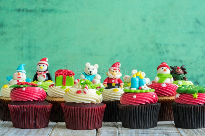 Christmas of cupcake on the wooden. Christmas of cupcake on the old wooden royalty free stock photo