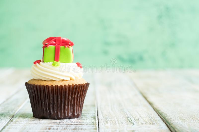 Christmas of cupcake on the wooden. royalty free stock photography