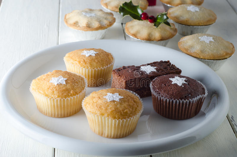 Christmas Cupcakes and Mince Pies stock photography
