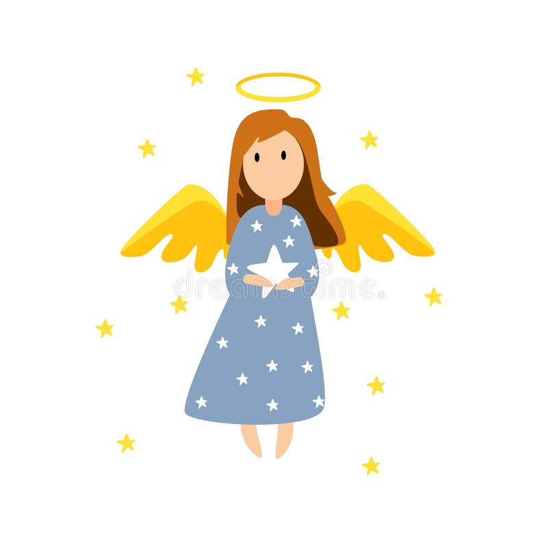 Free Christmas Cute Angel. Christmas Card Royalty Free Stock Image - 132372096