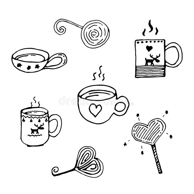 Christmas cute doodle set with bowls and sweets. Heart shaped magic lollipops. A cup with a heart, a cup with elk. Freehand drawing. Gift wrapping, cards royalty free illustration
