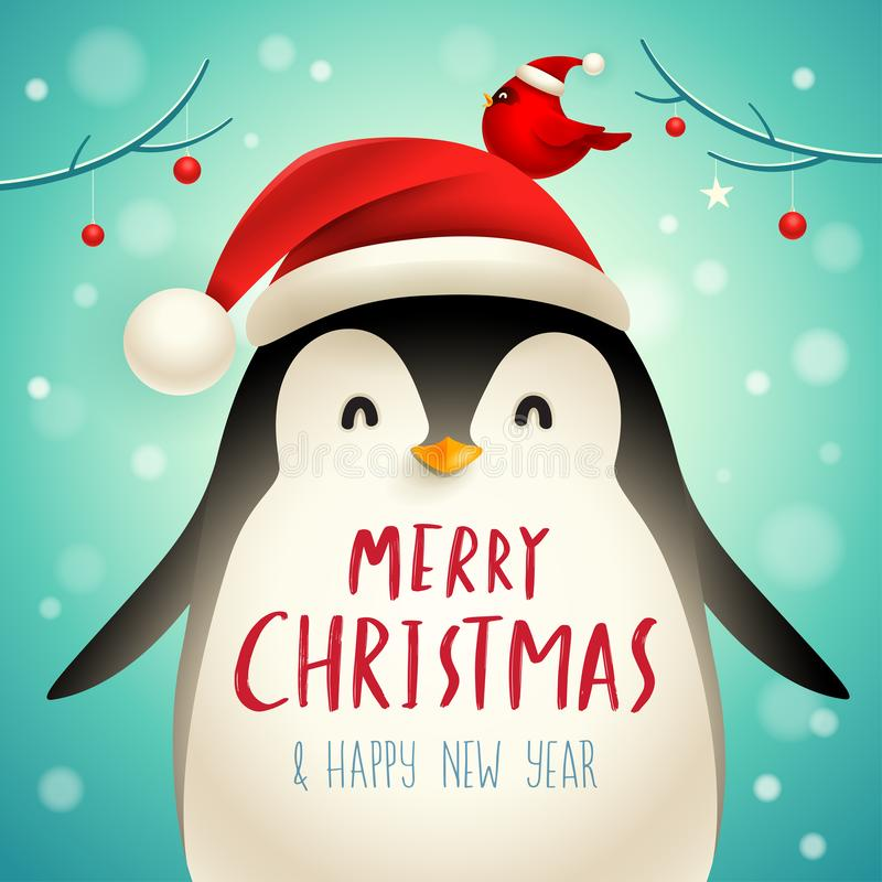 Free Christmas Cute Little Penguin With Santa's Cap. Royalty Free Stock Photo - 131871155