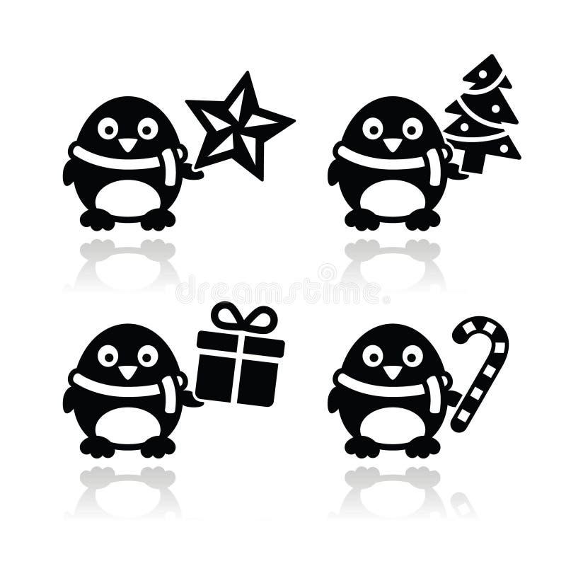 Christmas cute penguin  icons set