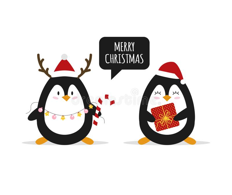 Christmas. Cute penguins with Christmas gifts. Happy animals. Vector stock illustration