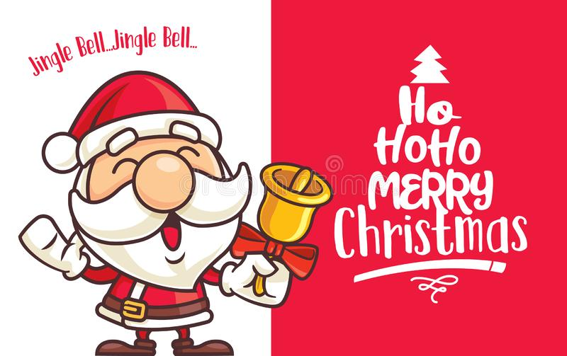 Christmas cute Santa Claus holds Christmas bell with big red signboard. Merry Christmas - vector stock illustration
