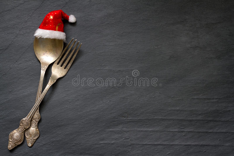 Christmas cutlery on the table abstract food background stock photo