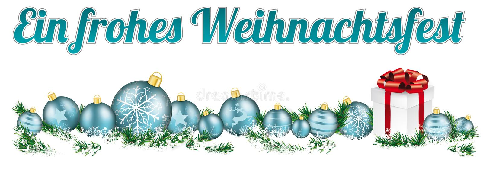Christmas Cyan Baubles Headline Snow Gift Frohes Weihnachtsfest. German text Frohes Weihnachtsfest, translate Merry Christmas royalty free illustration