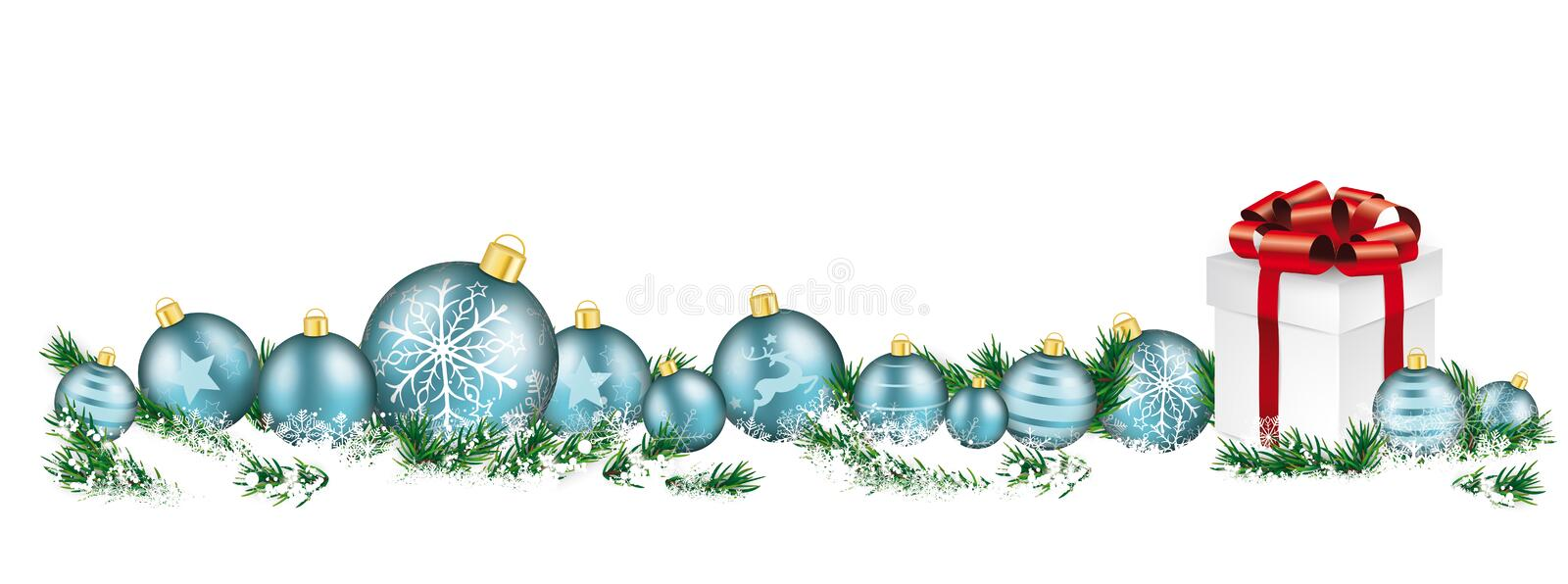 Christmas Cyan Baubles White Headline Snow Banner Gift. Cyan christmas baubles with twigs in the snow royalty free illustration