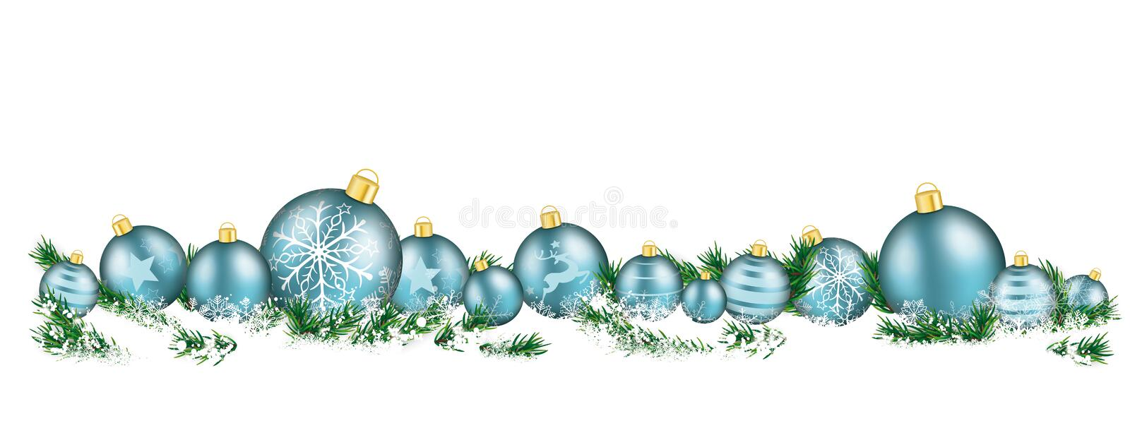 Christmas Cyan Baubles White Headline Snow Banner. Cyan christmas baubles with twigs in the snow stock illustration