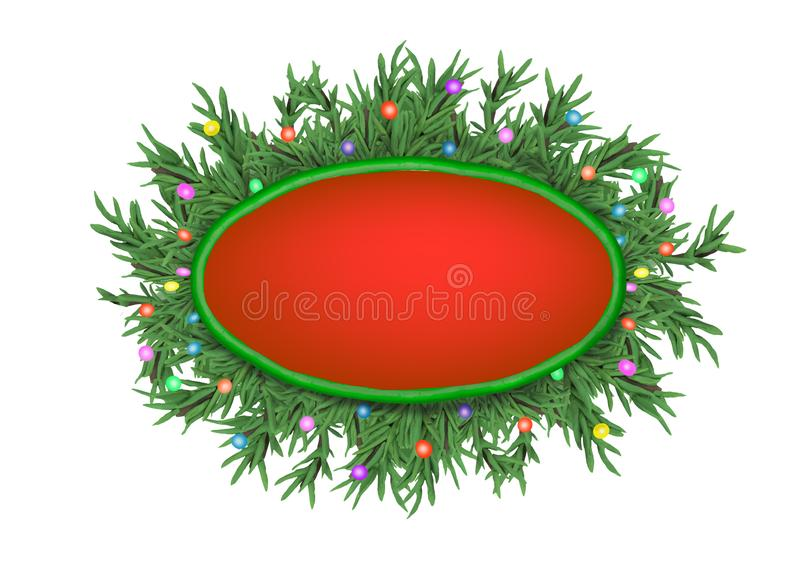 Christmas 3D pine tree branches wreath banner with text place isolated on white background. Christmas 3D pine tree branches wreath banner with text place royalty free illustration