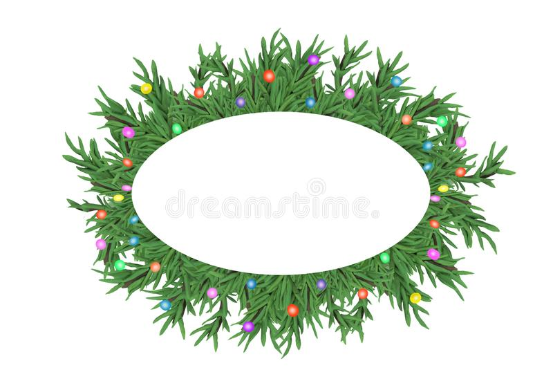 Christmas 3D pine tree branches wreath banner with text place isolated on white background. Christmas 3D pine tree branches wreath banner with text place vector illustration