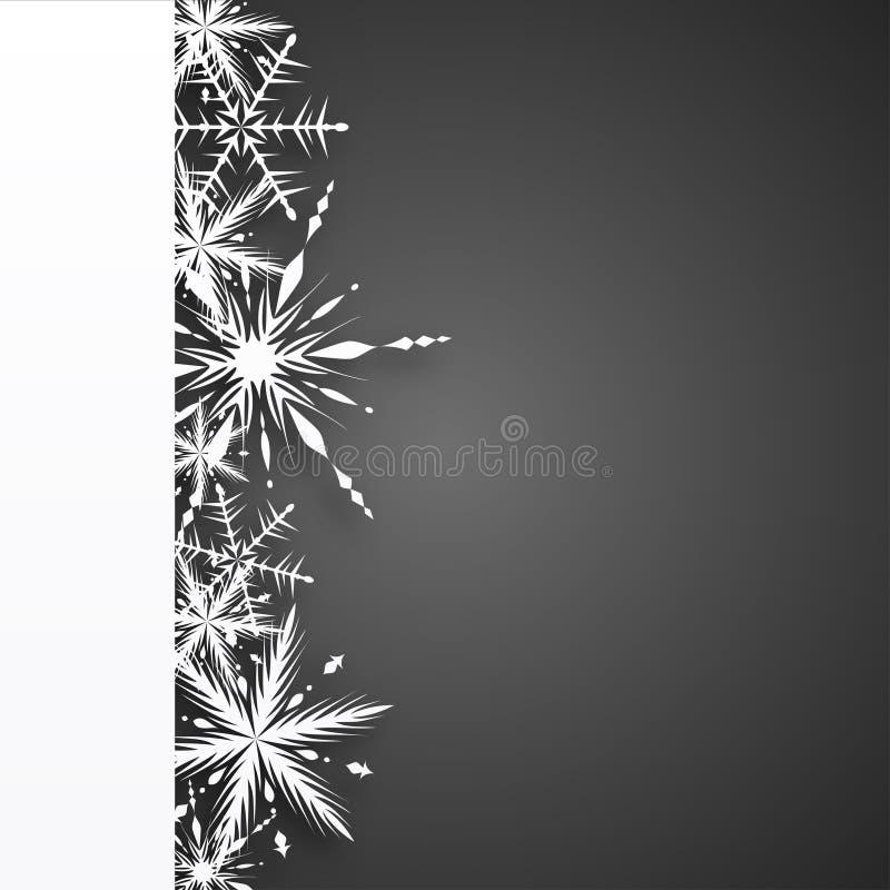 Christmas dark background with white snowflakes - dark version stock illustration