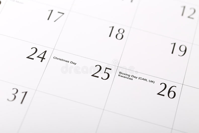 Download Christmas date on calendar stock image. Image of month - 35739761