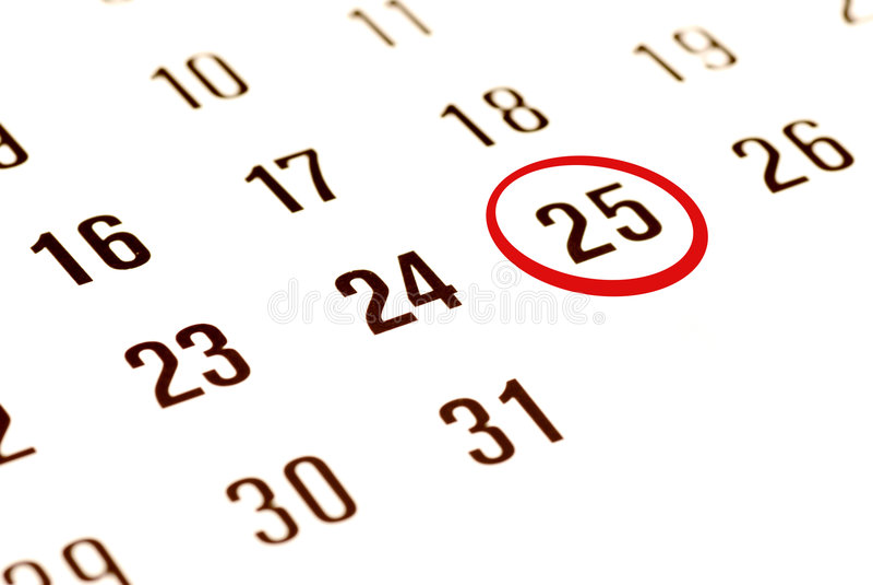 Christmas day on calendar royalty free stock image