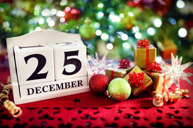 Christmas day calendar royalty free stock photo