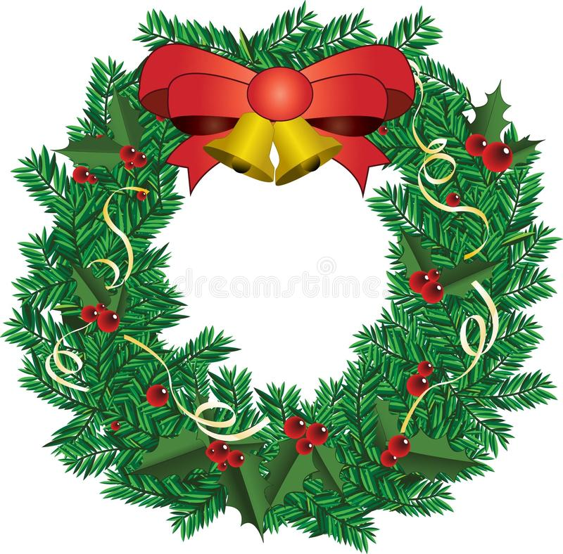 Christmas deco with red ribbon Vector illustration stock photo
