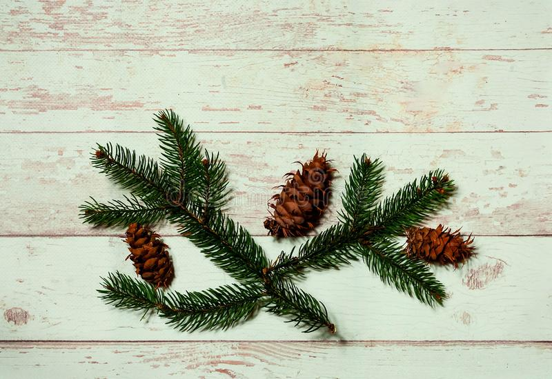 Christmas decor. Festive light background with fir branches and vintage pine cones, top view, New Year holidays concept, close up royalty free stock photo