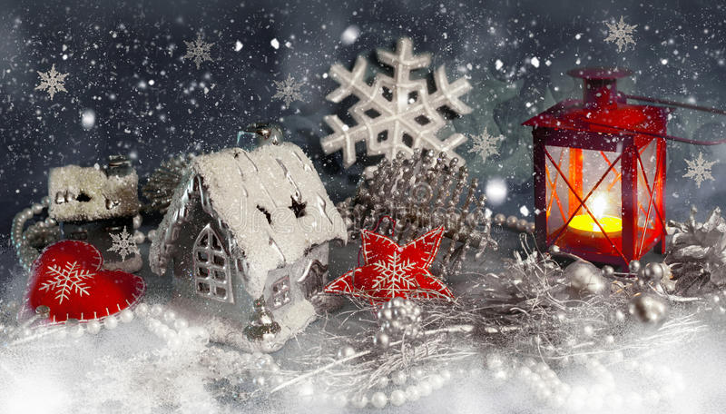 Christmas decor, light and snow. Christmas silver decorations and red light and snow stock illustration